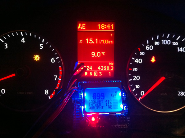 Arduino dashboard gadget based on obd ii kit and lcd