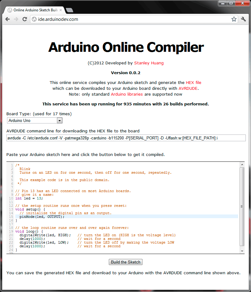 Web Based Arduino Sketch Compiler