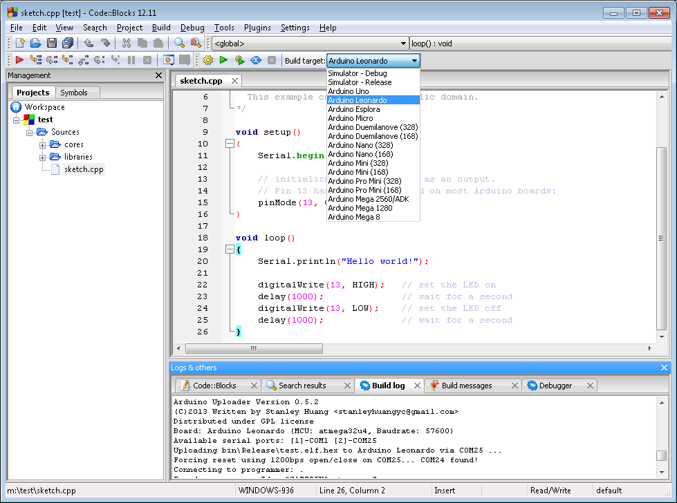 Arduino leonardo software download
