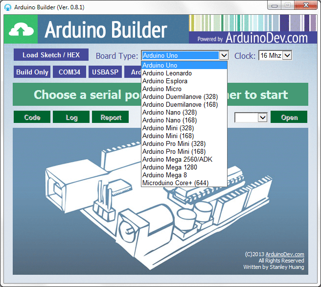 Arduino builder utility for viewing building and